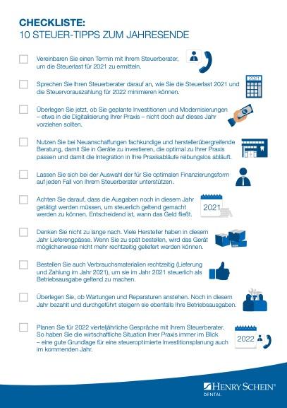 Checkliste Steuer Sparen 2021 Praxisinhaber